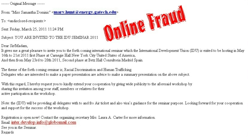 Online Security Dangers. Email Scams, Seminar Invitation
