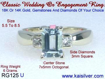 aquamarine rings, custom aquamarine diamond gold rings