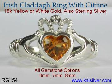 silver heart ring, claddagh heart ring with citrine