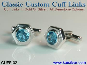 custom cufflinks, gold or sterling silver cuff links with gem stones