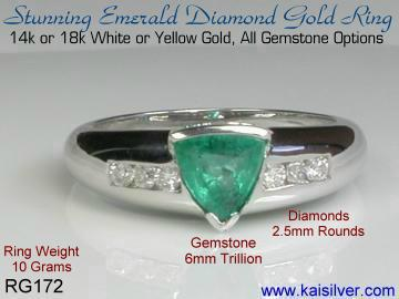 emerald ring with diamonds, 18k or 14k white gold emerald rings