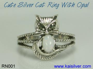 cat ring, sterling silver cat ring with gem stone of your choice