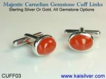 carnelian gemstone cufflinks, kai silver