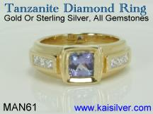 mens tanzanite diamond ring