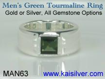 green tourmaline gemstone ring for men