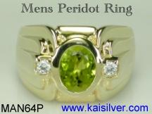 mens green peridot gemstone ring