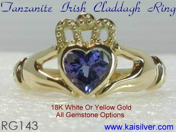 tanzanite heart ring gold or 925 silver