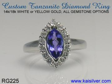 tanzanite diamond ring, gold or 925 sterling silver tanzanite rings