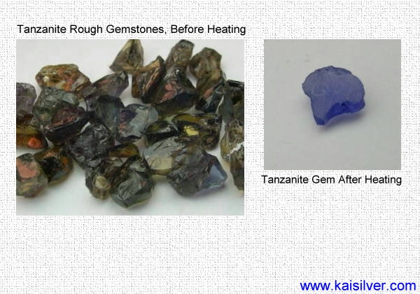 tanzanite rough before heating and after being treated
