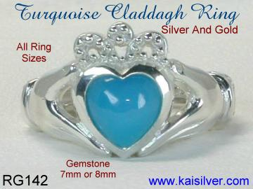 gold or silver claddagh wedding rings with turquoise gemstone